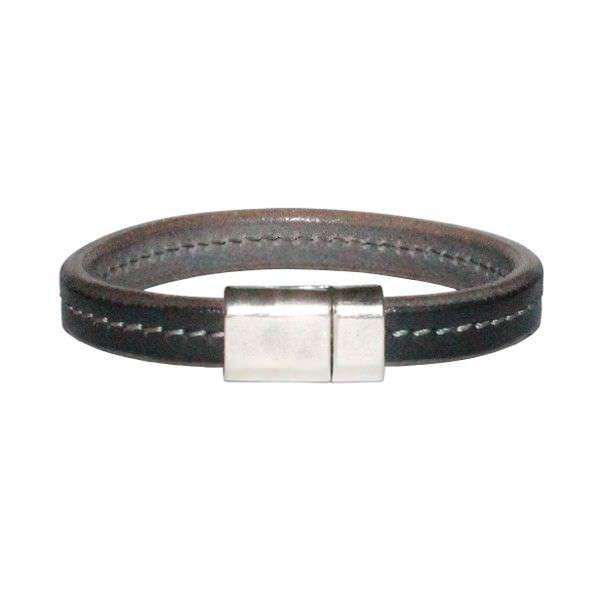 Bracelet homme cuir surpiqué gris Sellier 1