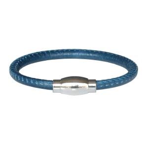 bracelet enfant garçon en cuir surpiqué bleu