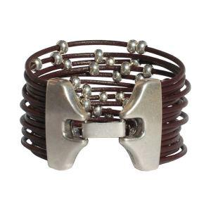 """Bracelet cuir femme manchette cuir multi liens """"Boule"""" 2"""