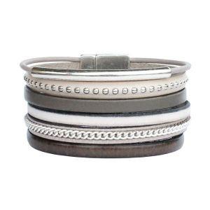 """Bracelet cuir femme manchette lanières cuir """"Jungle"""" taupe kaki"""