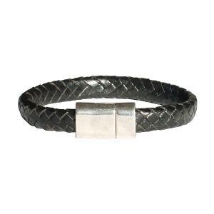 """Bracelet homme cuir tressé noir """"java"""""""