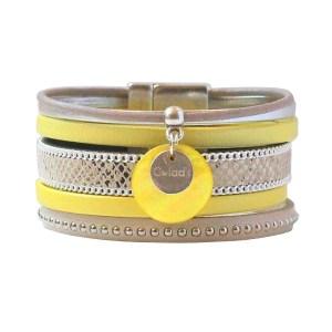 """Bracelet cuir femme manchette jaune python argenté """"Sun""""1"""