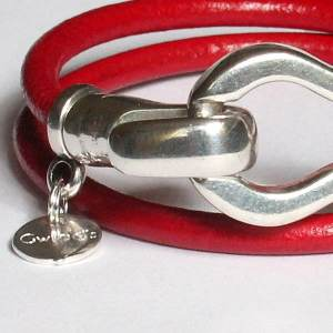 """Bracelet femme cuir 2 tours fermoir crochet """"Saint-tropez"""" 2"""