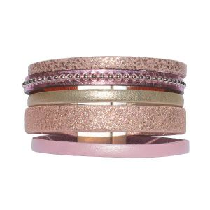 Bracelet femme cuir manchette Pink 1