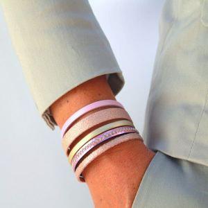 Bracelet femme cuir manchette doré rose Pink 4