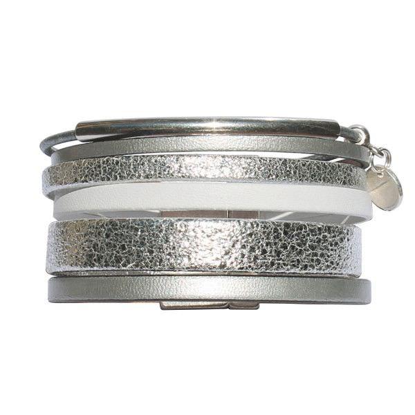 """Bracelet femme cuir manchette argenté """"Silver"""" 1"""