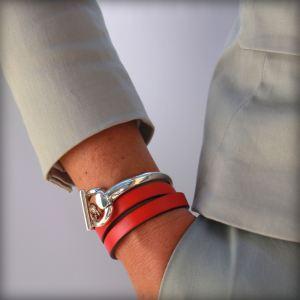 Bracelet cuir femme 3 tours demi-jonc Etrier 3