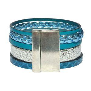"Bracelet cuir femme manchette bleu canard argenté ""Bord De Mer"" 1"