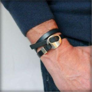 """Bracelet homme cuir double tour bleu gris """"Spartiate"""" 3"""
