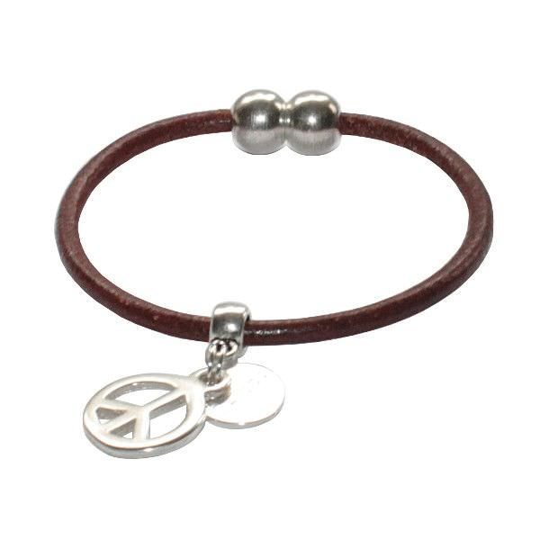 "Bracelet enfant cordon cuir ""Peace And Love"" 1"