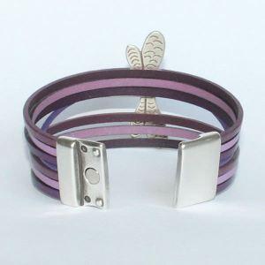 """Bracelet enfant cuir manchette """"Libellule"""" 2"""