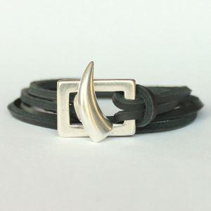Bracelet cuir homme cordon cuir double tour Corne 1