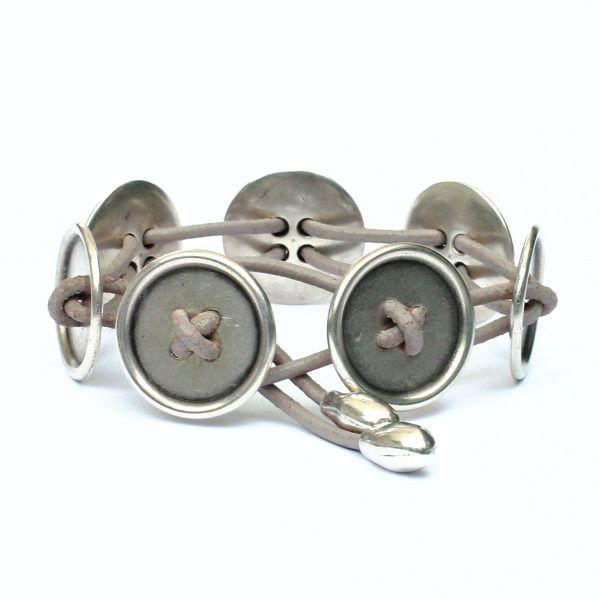 "Bracelet femme cuir ""bouton"" 1"