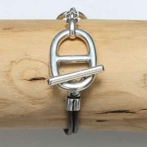 Bracelet femme cuir maille Marine 1
