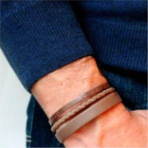 Bracelet homme cuir manchette Denver marron tabac 5