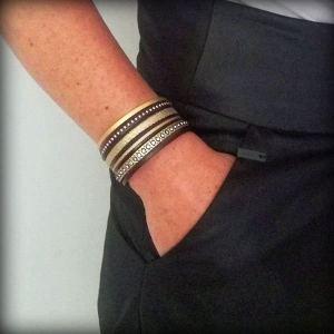 """Bracelet femme cuir manchette multi liens marron foncé doré gold strass """"Black Gold"""" 2"""