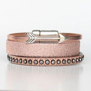 Bijoux bracelet enfant fille cuir manchette flèche or rose 1