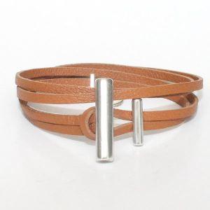 "Bracelet cuir femme cuir de veau ""Olympe"" camel 1"