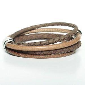 """Bracelet homme cuir multi liens tressé """"Sahara""""fermoir aimanté acier camel 2"""