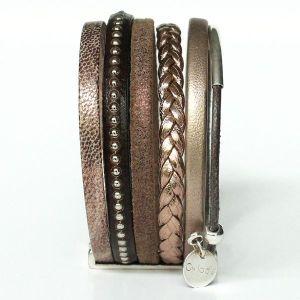 Bracelet manchette femme cuir tressé multi rangs marron glacé Terre d'ombre 2