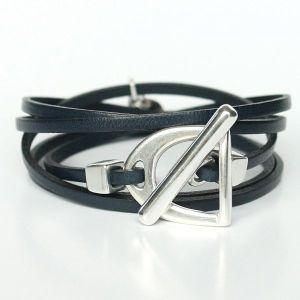 """bracelet cuir femme cuir de veau """"Fer à cheval"""" plaqué argent 1"""