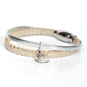 bracelet enfant fille cuir à pois beige argenté pailleté 1