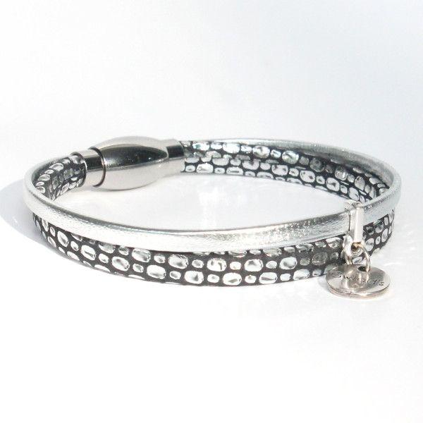 bracelet enfant fille cuir argenté noir Mamba 1