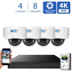 GW970HD 8 Channel 4 Camera 4K H.265+ Dome Security Camera System