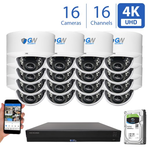 16 Channel 16 Camera H.265 NVR 8MP 4K IP Dome Security Cameras
