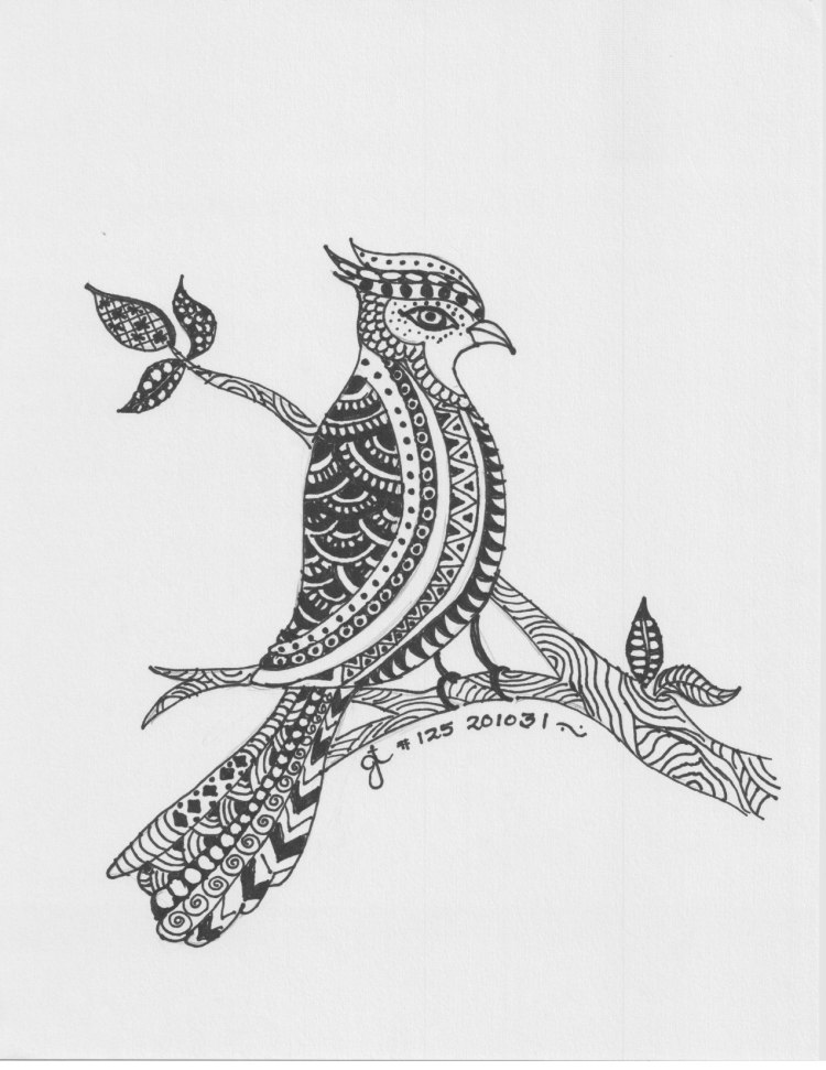 Image of an imaginary bird on a branch embellished with Zentangle patterns. It is a pen and ink drawing created with the help of a Safi's Creative Zone tutorial.