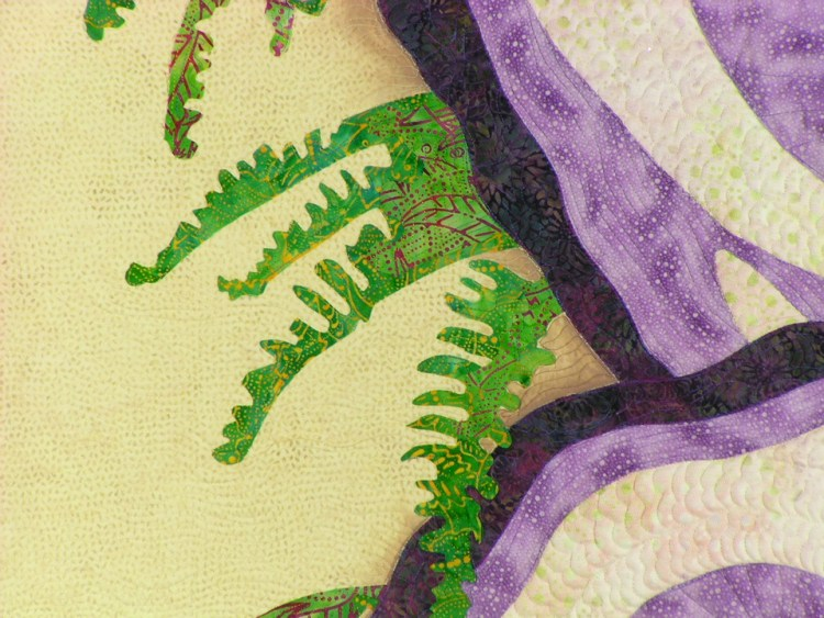 Close up image of the juncture of the two oyster shells highlighting the hand painted shadow and fern like seaweed