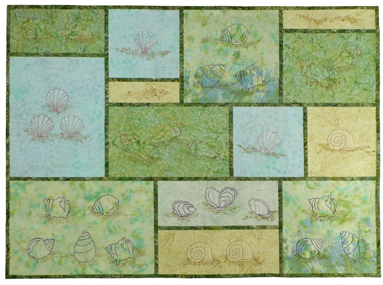 Image of a grid of pale blue, foam green and sand colored backgrounds with thread painted shells and beach showcased on each grid