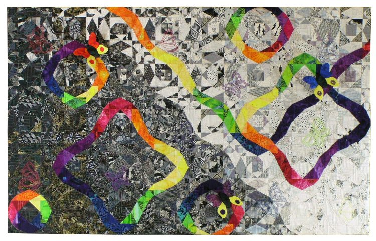 Image of a black and white quilt with rainbow pieced ribbons randomly threaded around the piece and butterflies in the quilting, threading painting and as 3D sculpture.