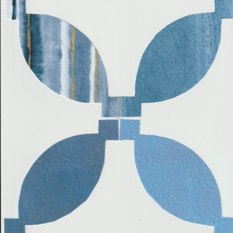 Image of the negative space leftover fabric produced after the positive space arcs are cut away