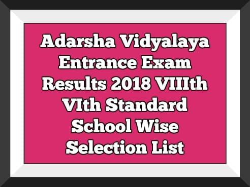 Adarsha Vidyalaya Entrance Exam Results