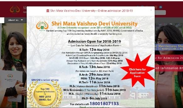 SMVDU Admit Card 2018