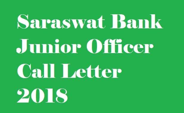 Saraswat Bank Junior Officer Call Letter