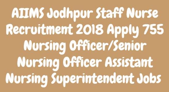 AIIMS Jodhpur Staff Nurse Recruitment