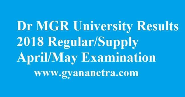 Dr MGR University Results
