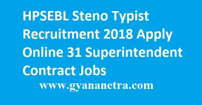 HPSEBL Steno Typist Recruitment 2018