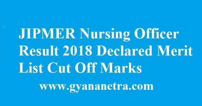 JIPMER Nursing Officer Result