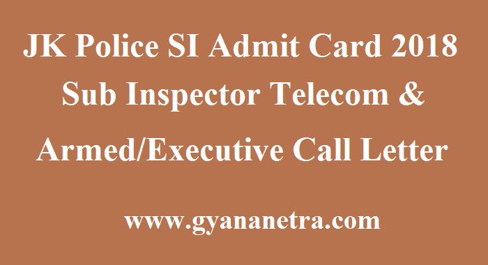 JK Police SI Admit Card