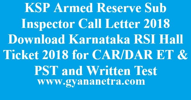 KSP Armed Reserve Sub Inspector Call Letter