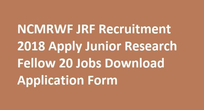 NCMRWF JRF Recruitment 2018