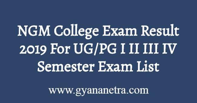 NGM College Exam Result 2019