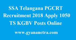 SSA Telangana PGCRT Recruitment