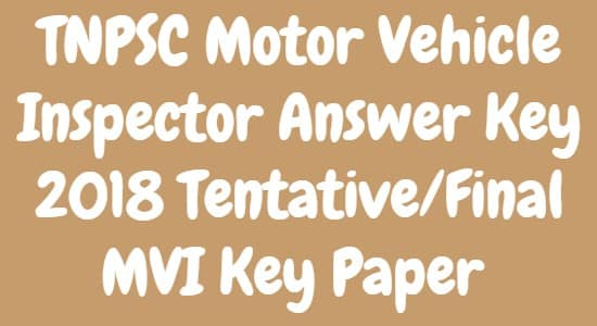 TNPSC Motor Vehicle Inspector Answer Key