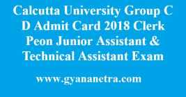 Calcutta University Group C D Admit Card