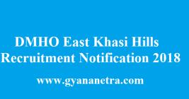DMHO East Khasi Hills Recruitment 2018