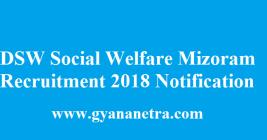 DSW Social Welfare Mizoram Recruitment 2018